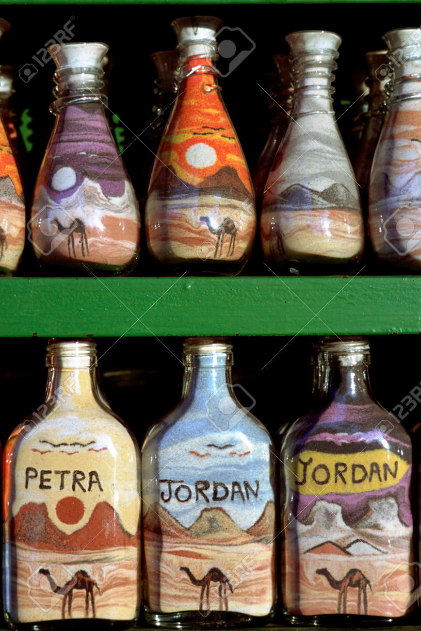 Sand-filled bottles to sell as souvenirs, Petra, Jordan. Colorful..