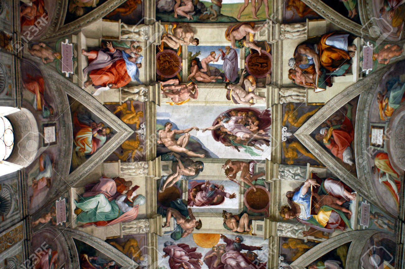 ceiling of sistine chapel vatican museum rome italy the creation