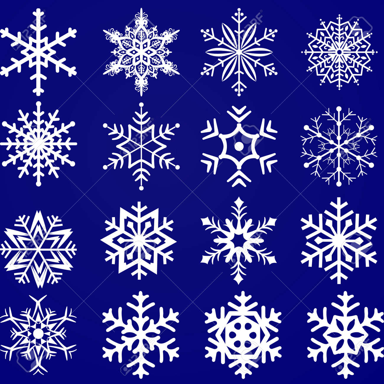 Set of vector snowflakes on a blue background - 122835194