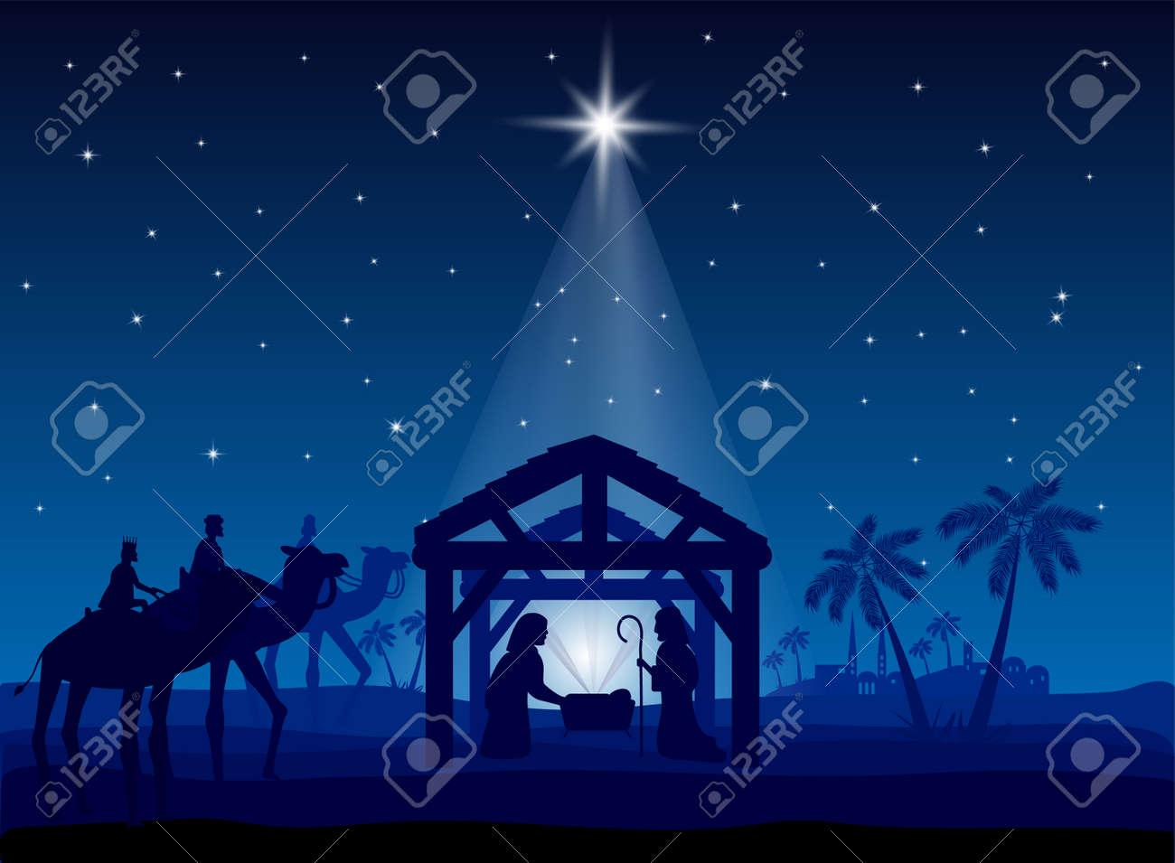 Nativity scene, Christmas star on blue sky and birth of Jesus, illustration - 122835610