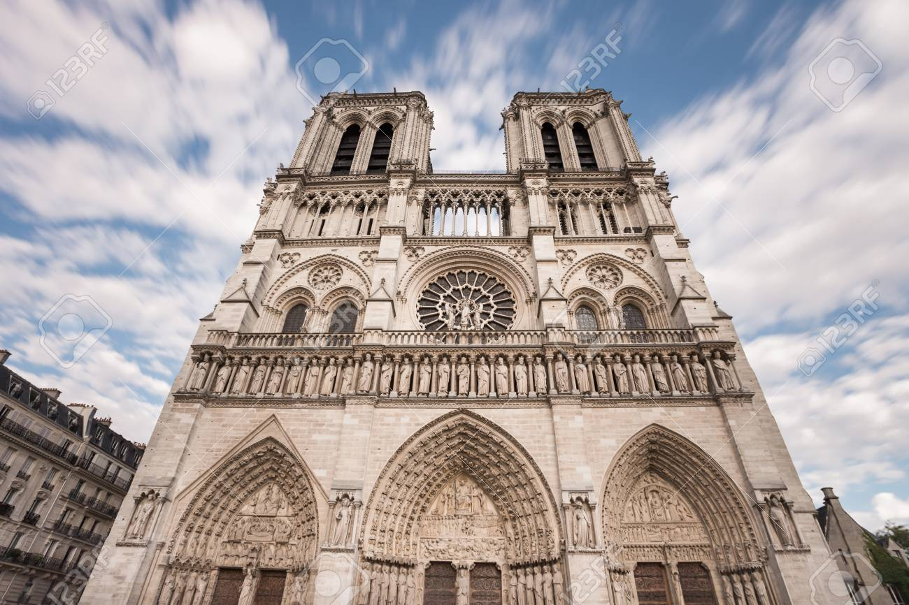famous ancient architecture. Exellent Architecture Facade Of NotreDame De Paris Famous Ancient Catholic Cathedral On A  Cloudy Day With Famous Ancient Architecture