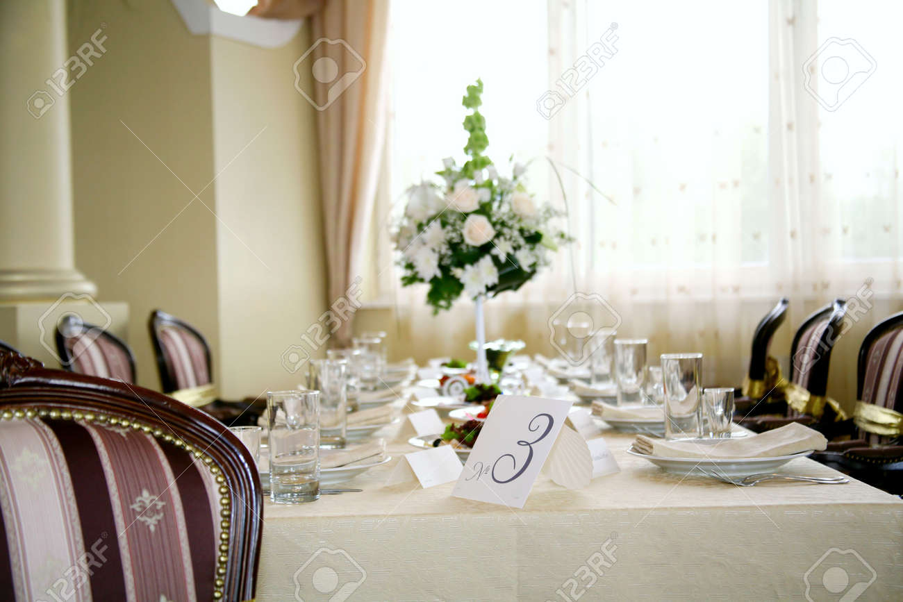 Elegant Tables And Chairs Set Up For A Wedding Banquet Stock Photo   5963142