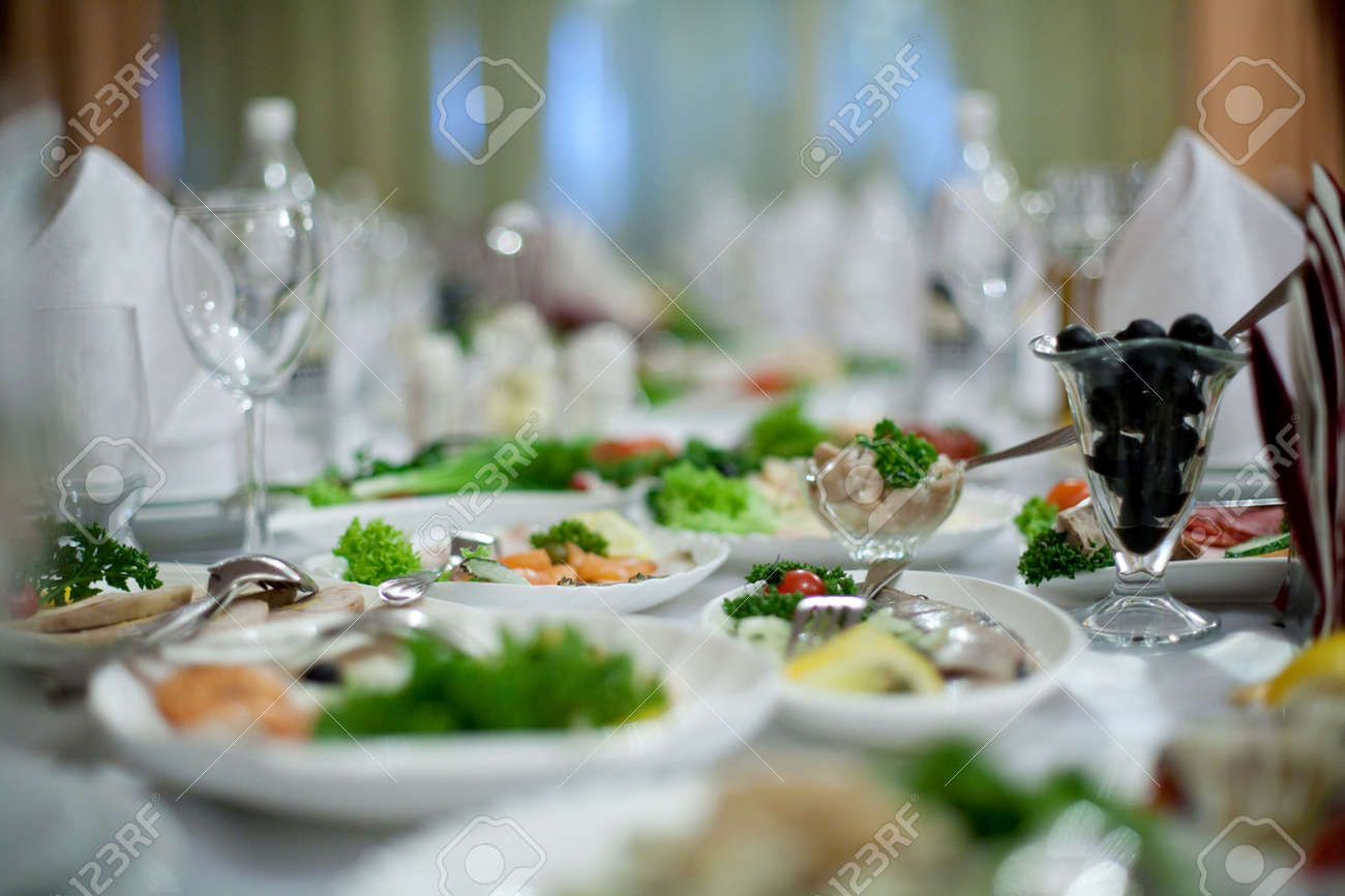 Elegant Tables And Chairs Set Up For A Wedding Banquet Stock