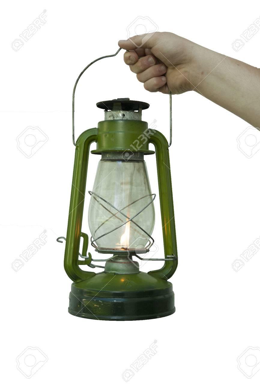 Stock Photo   Vintage Portable Kerosene Lamp (oil Lamp) On A White  Background