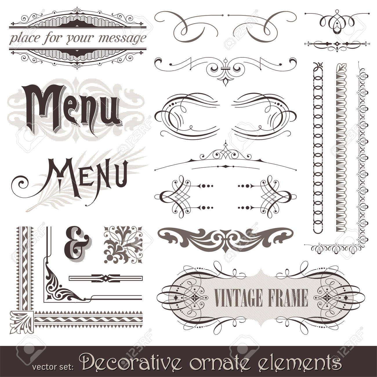 Vector decorative ornate design elements & calligraphic page decorations Stock Vector - 9857348