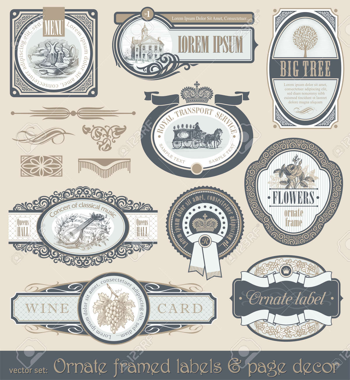 Vector set of vintage framed labels & page decor Stock Vector - 9857353