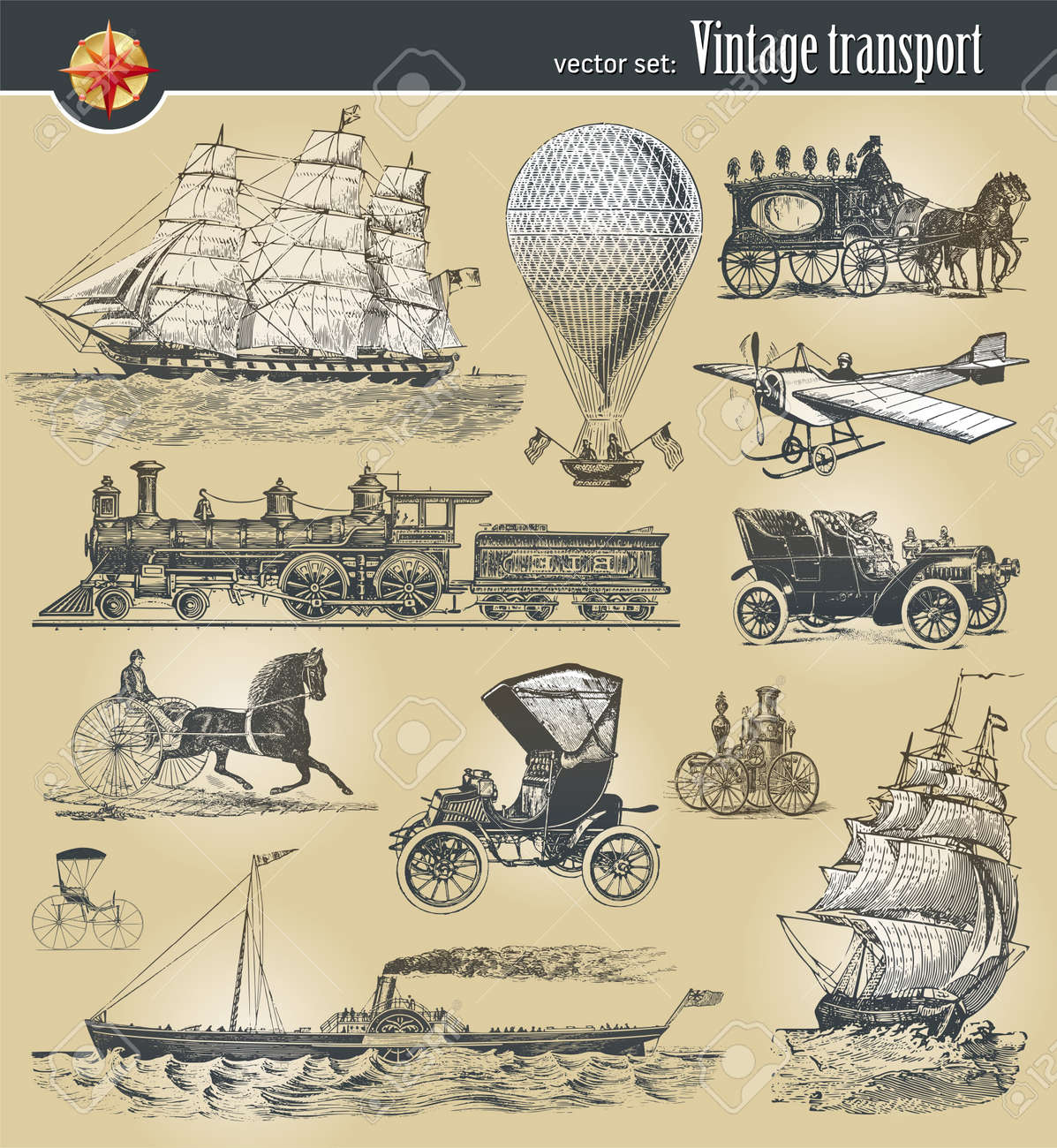 Vector set of vintage historical transport Stock Vector - 9857355