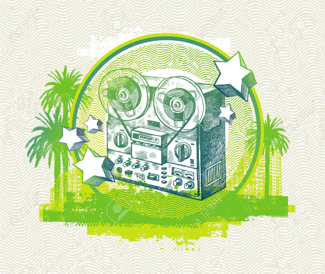 Abstract vector musical  illustration with hand drawn retro tape recorder Stock Vector - 9902920