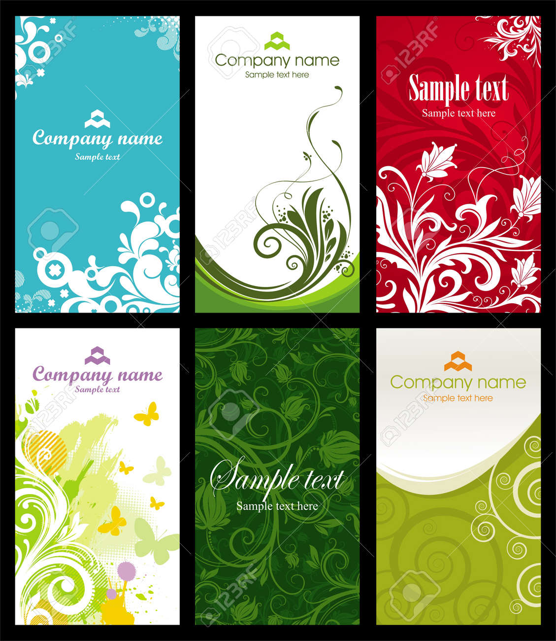 Vector set of six vertical ornate & pattern business cards - 9902995