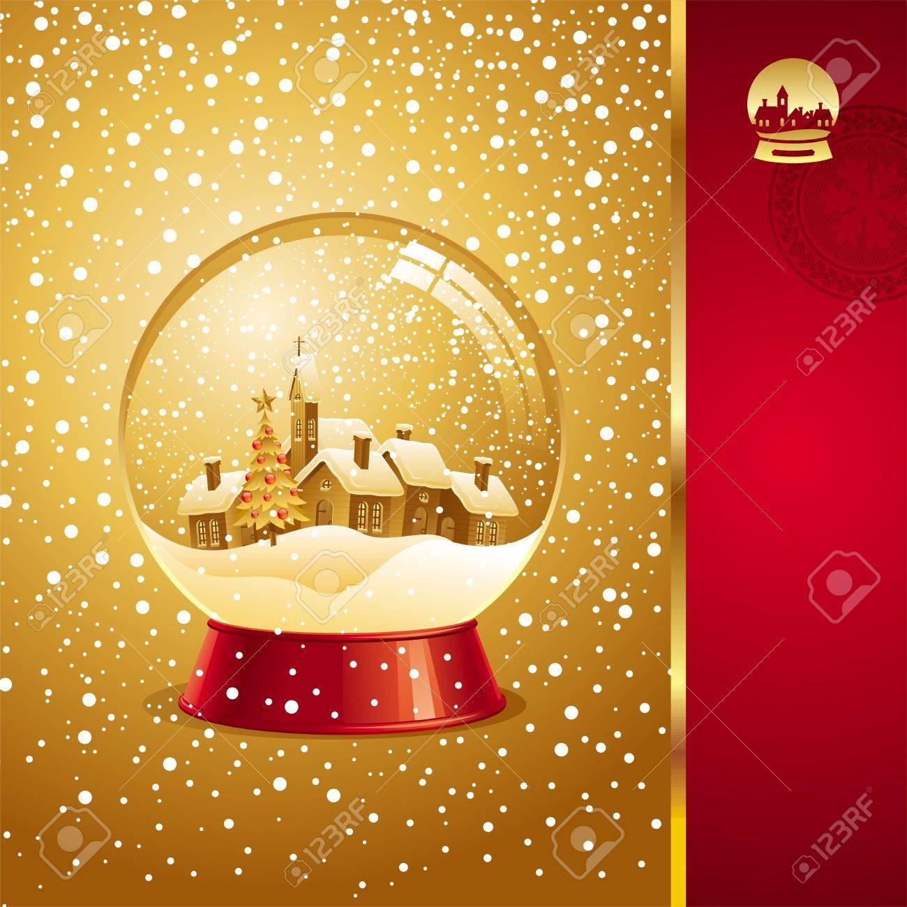 foto de archivo tarjeta de navidad de vectores con bola de nieve