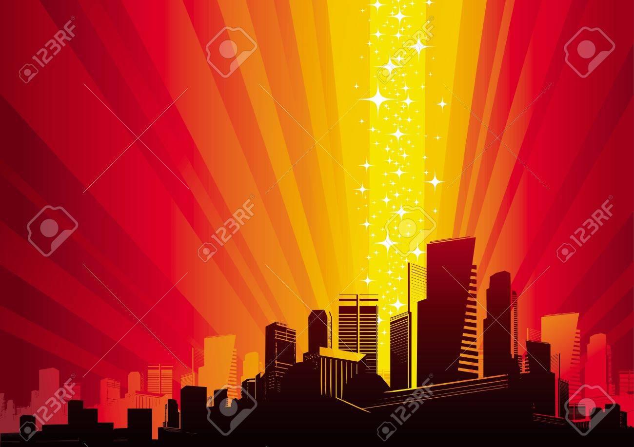 Vector illustration - Cityscape & magic phenomenon Stock Vector - 9902981