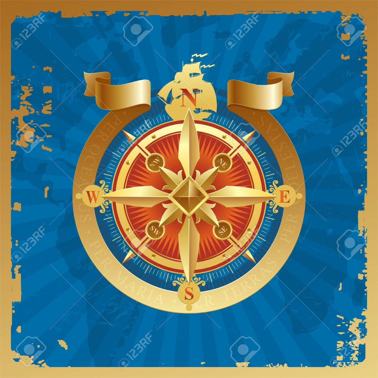 Golden compass rose on a grunge world map background royalty free golden compass rose on a grunge world map background stock vector 9903110 gumiabroncs Gallery