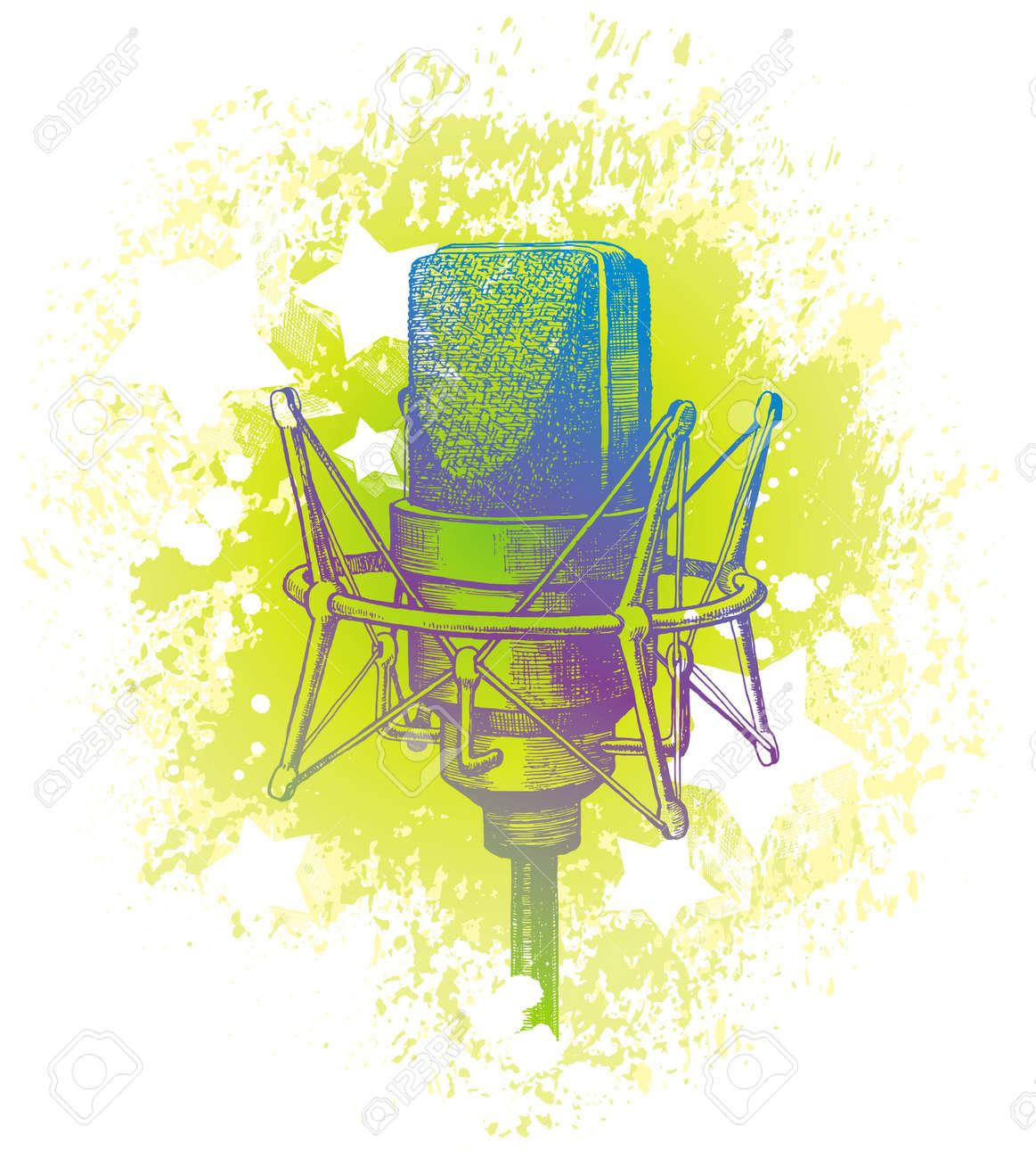 Vector hand drawn studio condenser microphone Stock Vector - 9903139