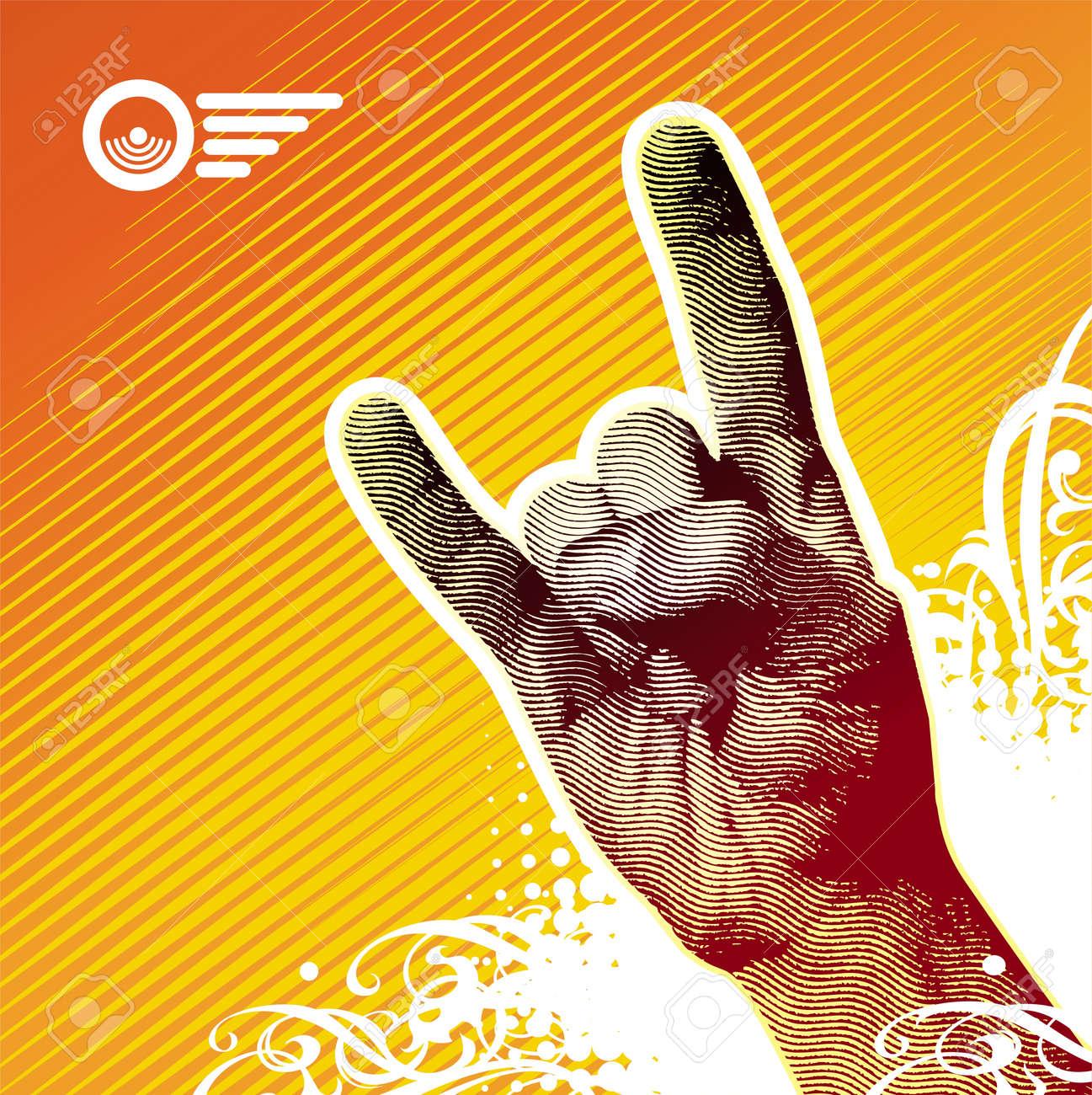 Heavy metal hand sign - vector illustration Stock Vector - 9903091