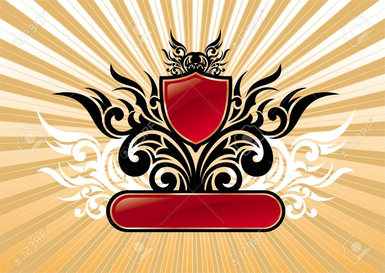 Heraldic vector ornate illustration with red shield & frame Stock Vector - 9903165