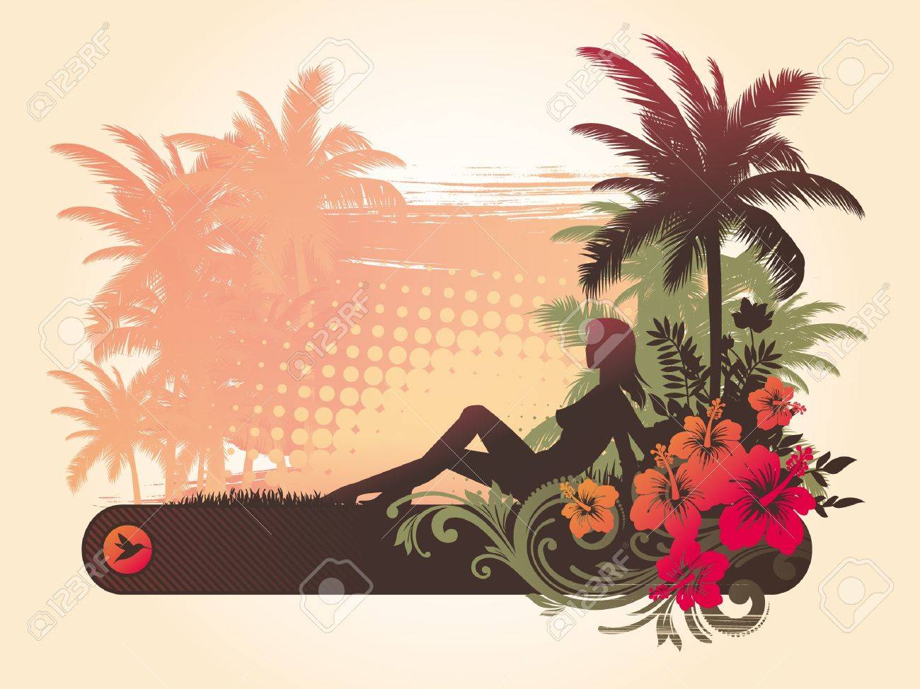 Hibiscus flowers & silhouette of a girl on a tropical landscape Stock Vector - 9903302