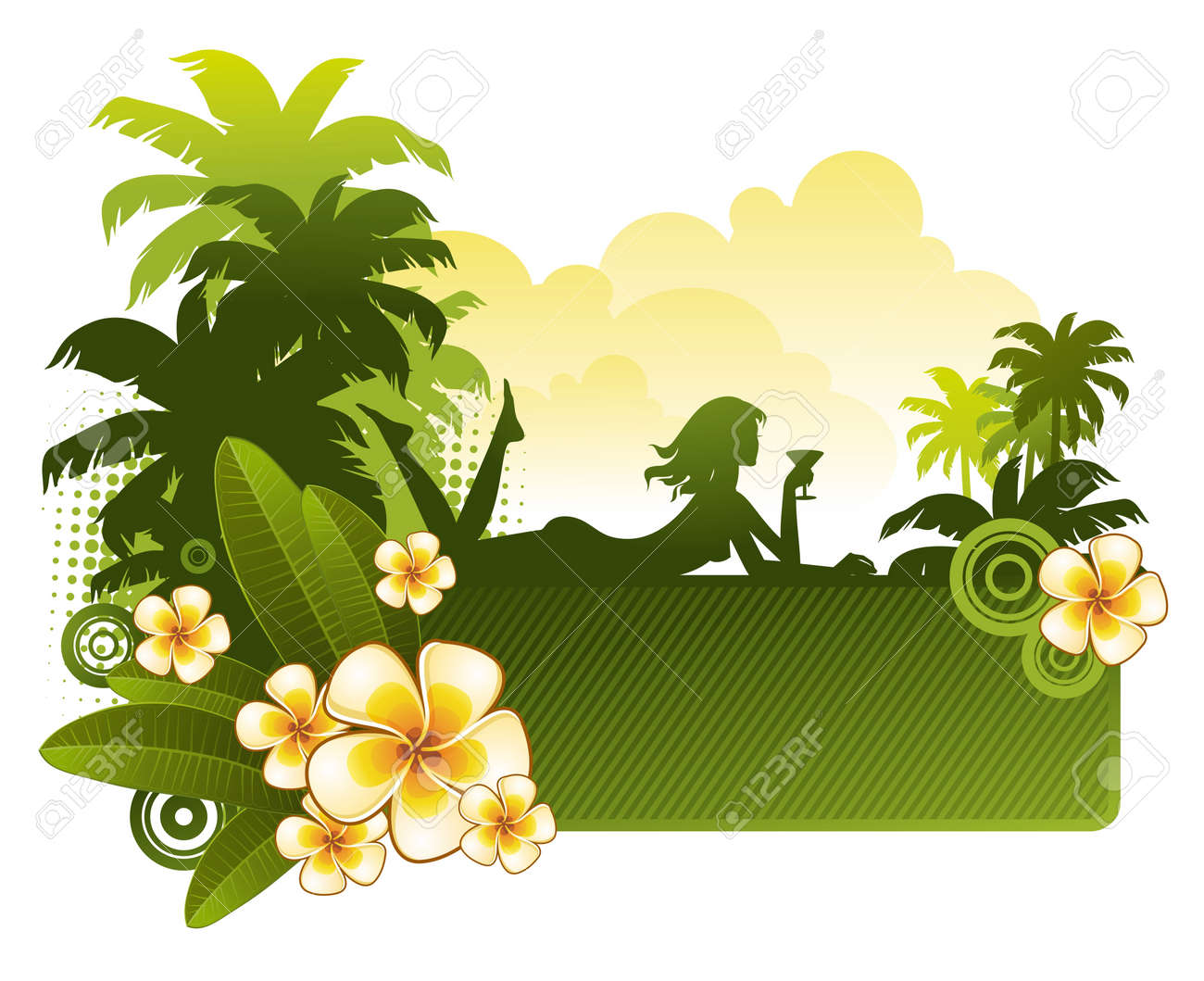 Frangipani flowers & silhouette of a girl on a tropical landscape - vector illustration Stock Vector - 9903244