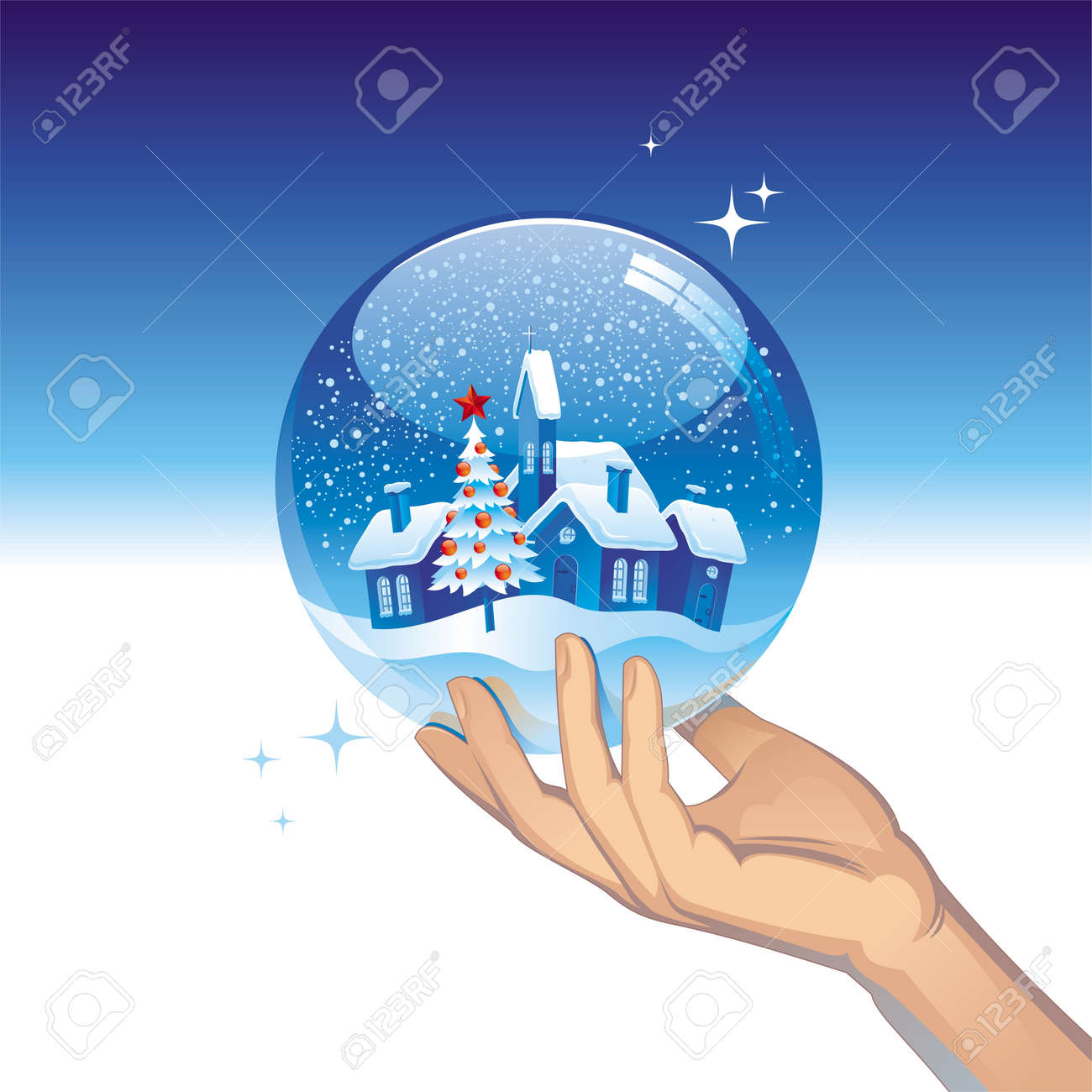 Vector snow globe with small town Stock Vector - 9903190