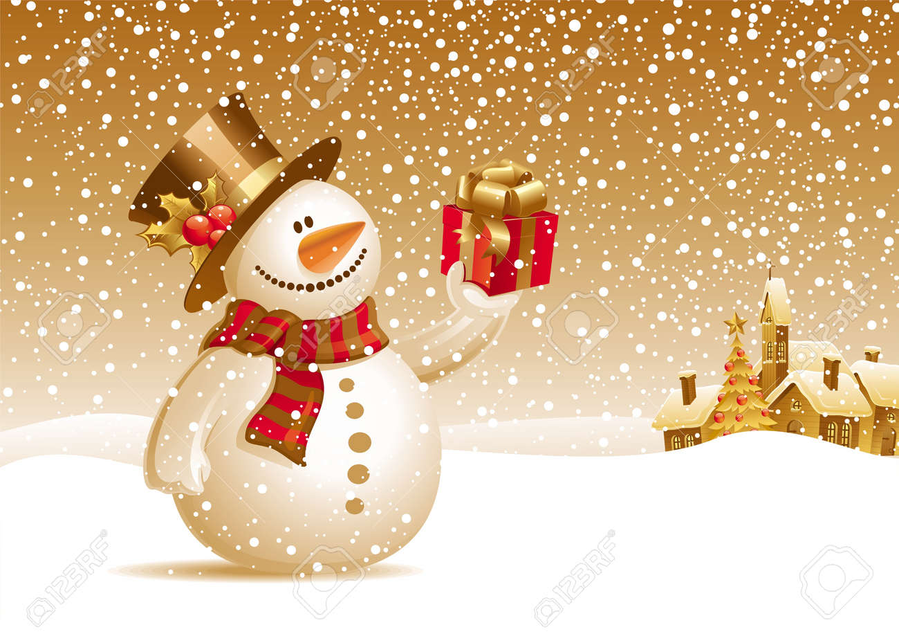 Smiling snowman with gift on a christmas landscape - vector illustration Stock Vector - 9903219