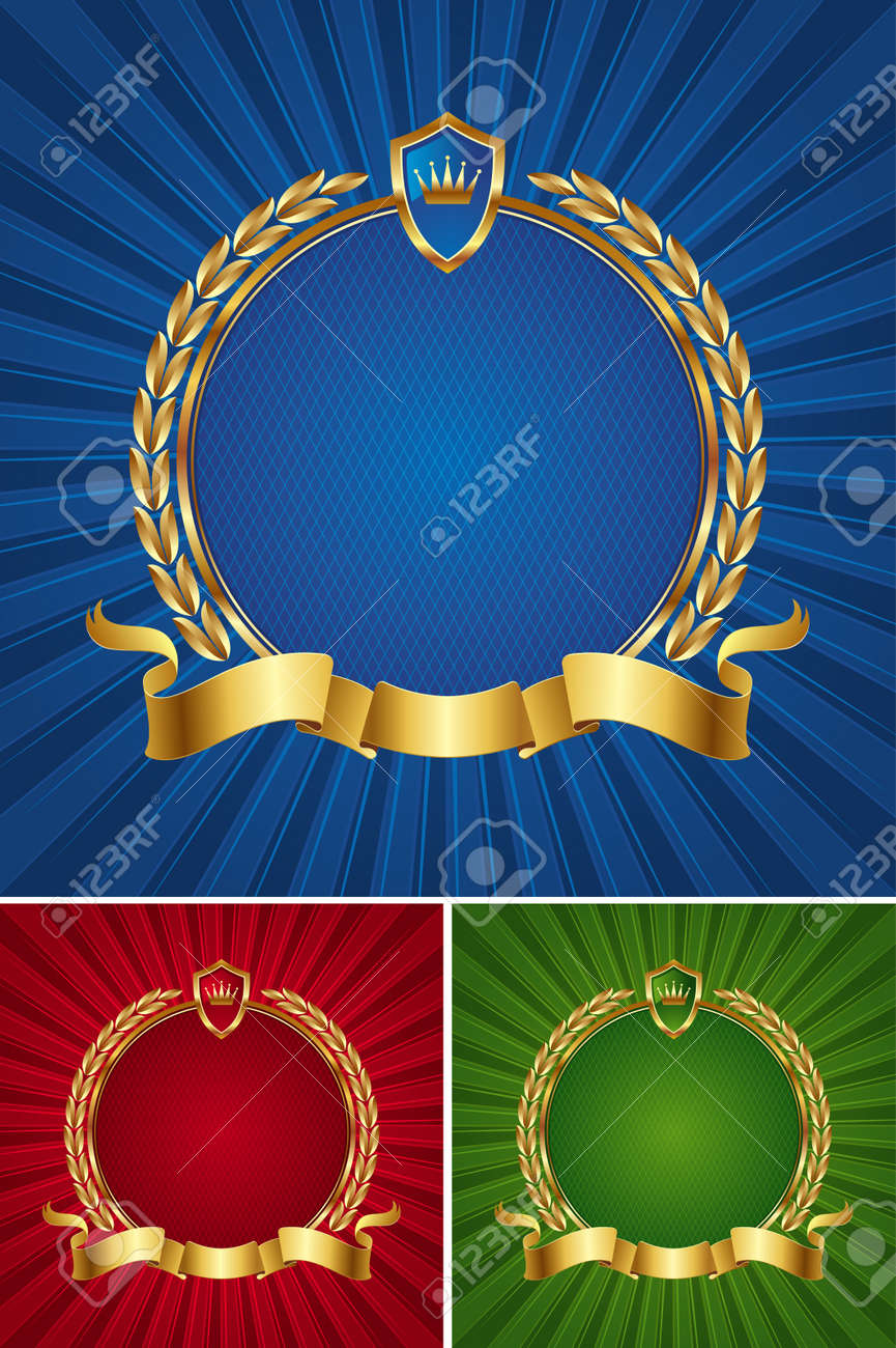 Round golden vector frame with ribbon and wreath Stock Vector - 9935020