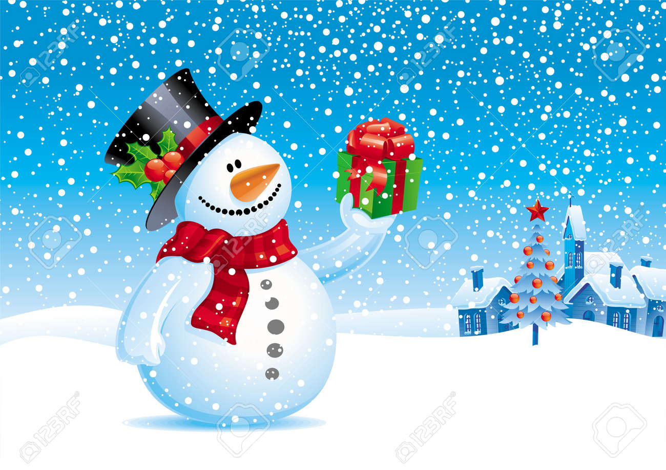 Smiling snowman with gift - vector christmas illustration Stock Vector - 9935016