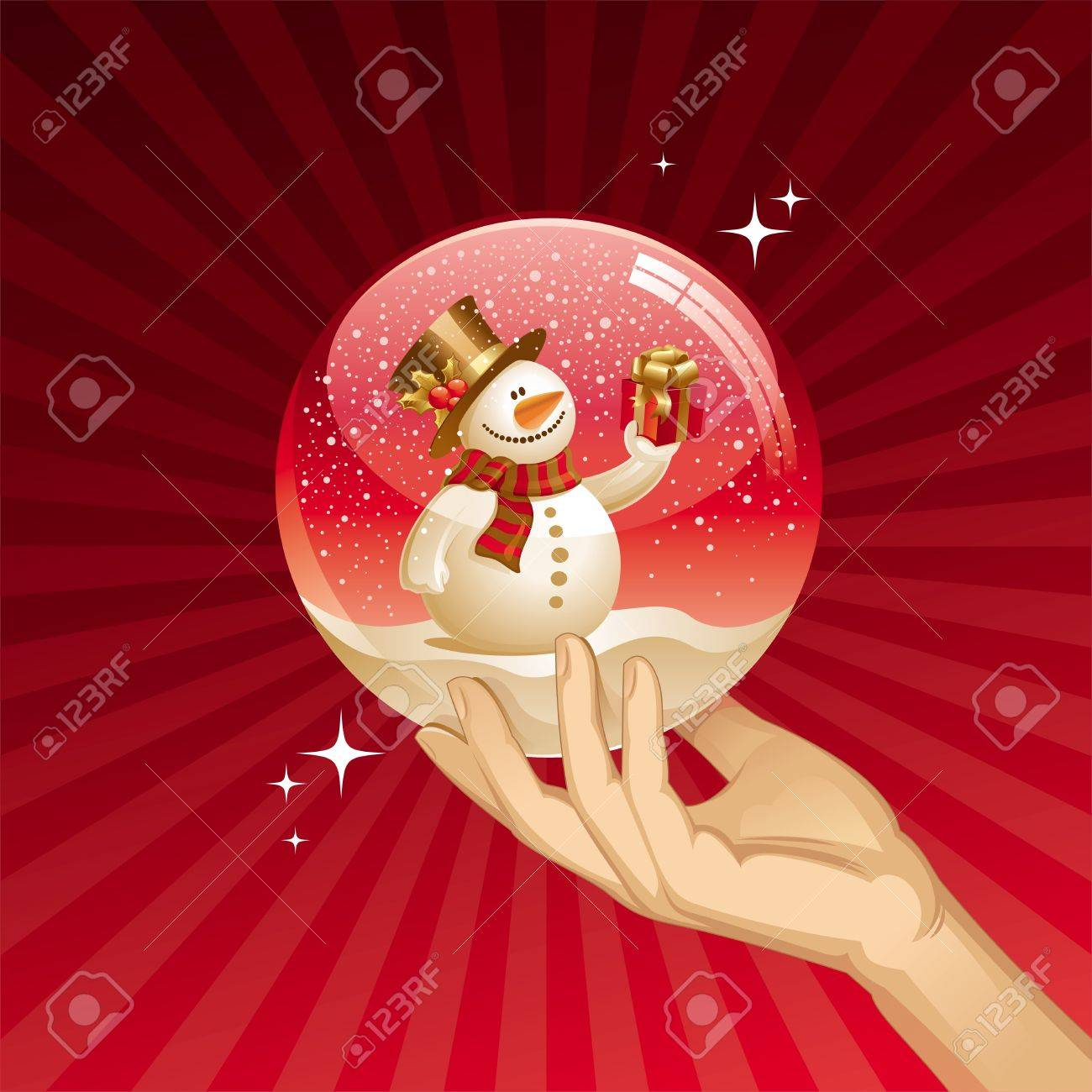 Snowman with gift in a snow globe - vector Christmas illustration Stock Vector - 9934972