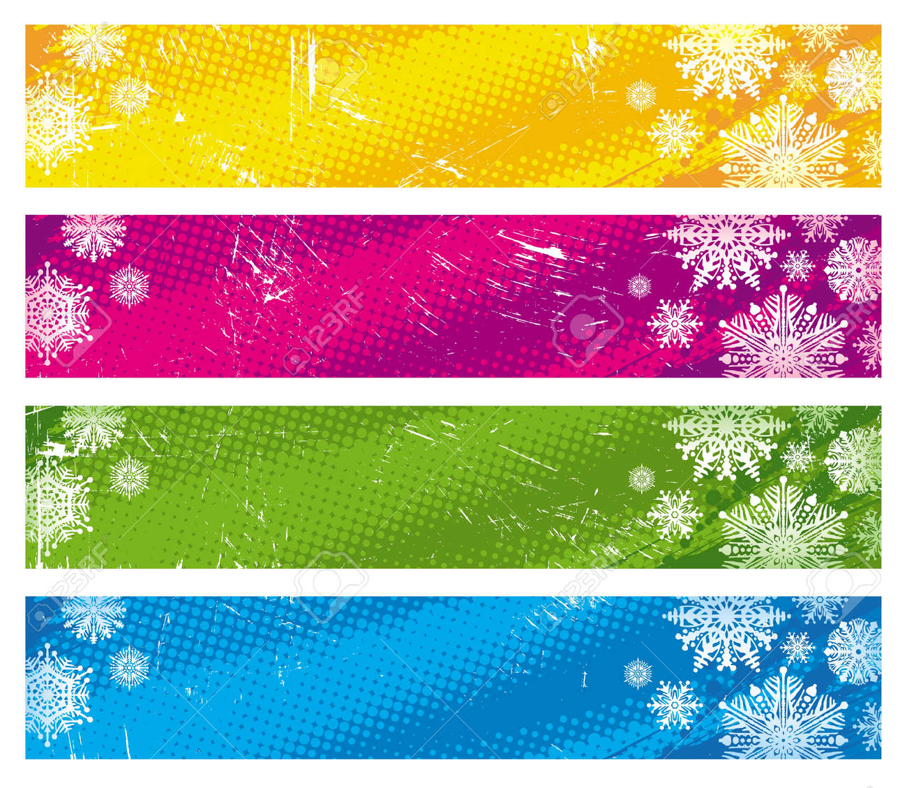 Vector grunge banners with snowflakes Stock Vector - 9945429