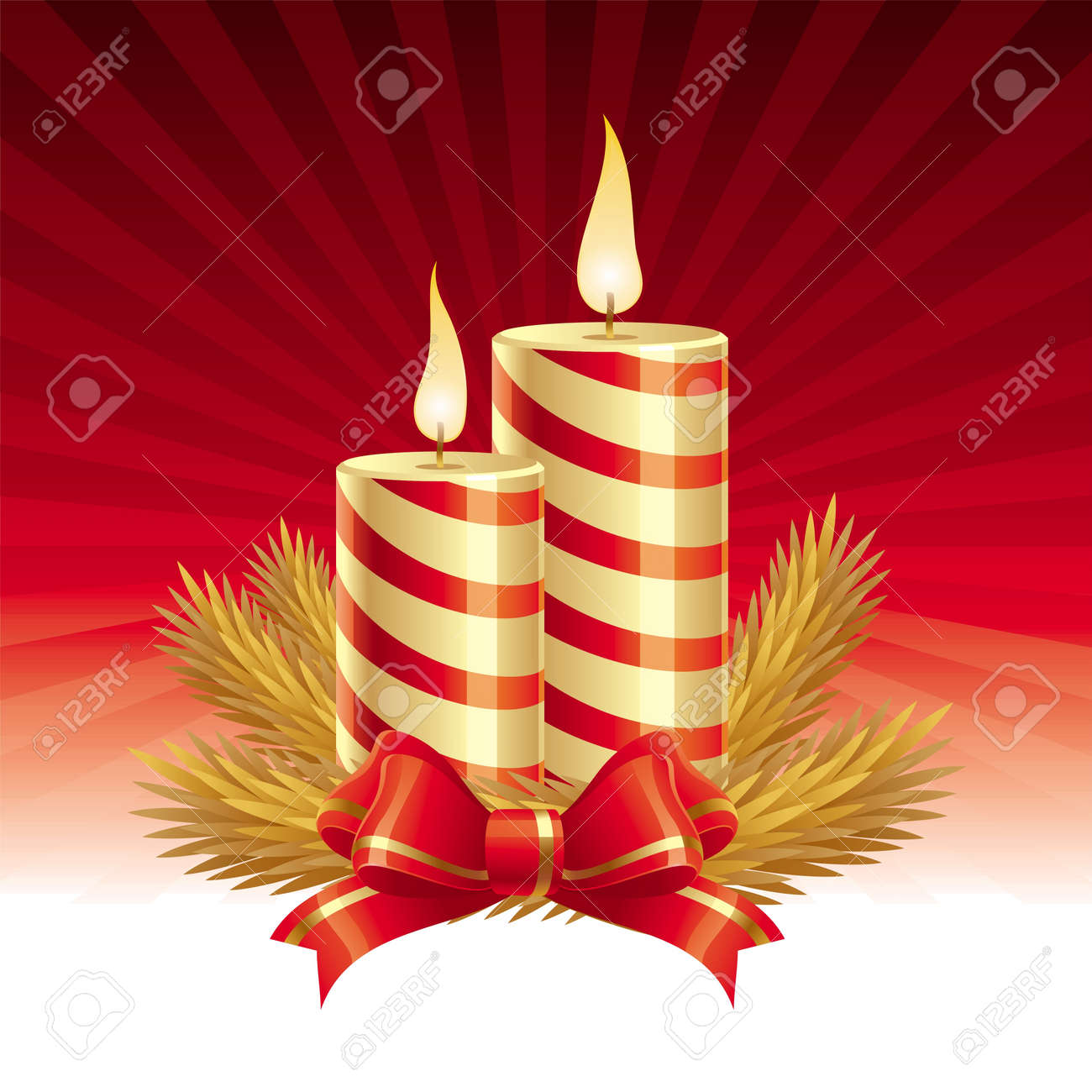 Two christmas candles - vector illustration Stock Vector - 9934960