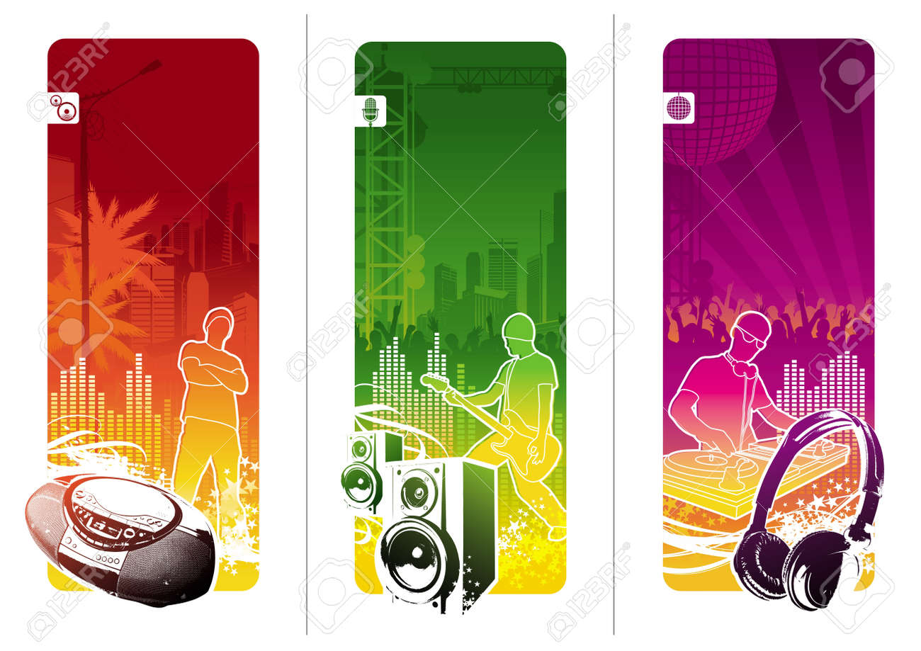 Vector banners - Urban musical youth culture Stock Vector - 9945416