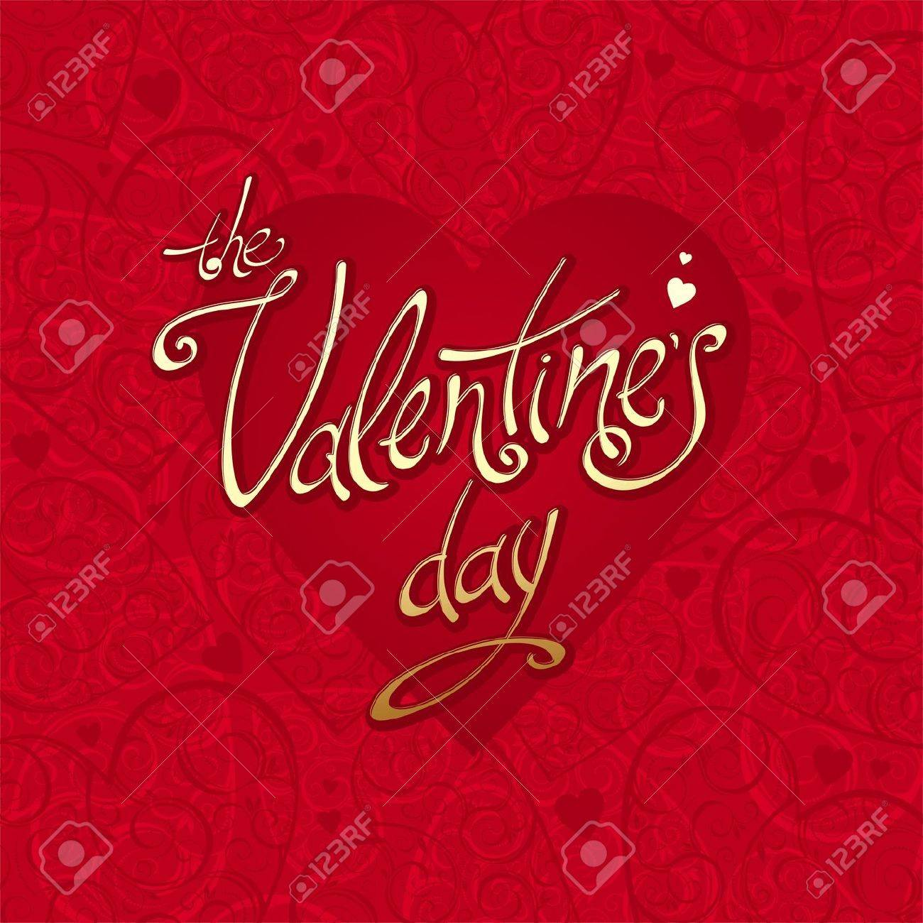 Valentines vector card with hearts background & calligraphy Stock Vector - 9945423