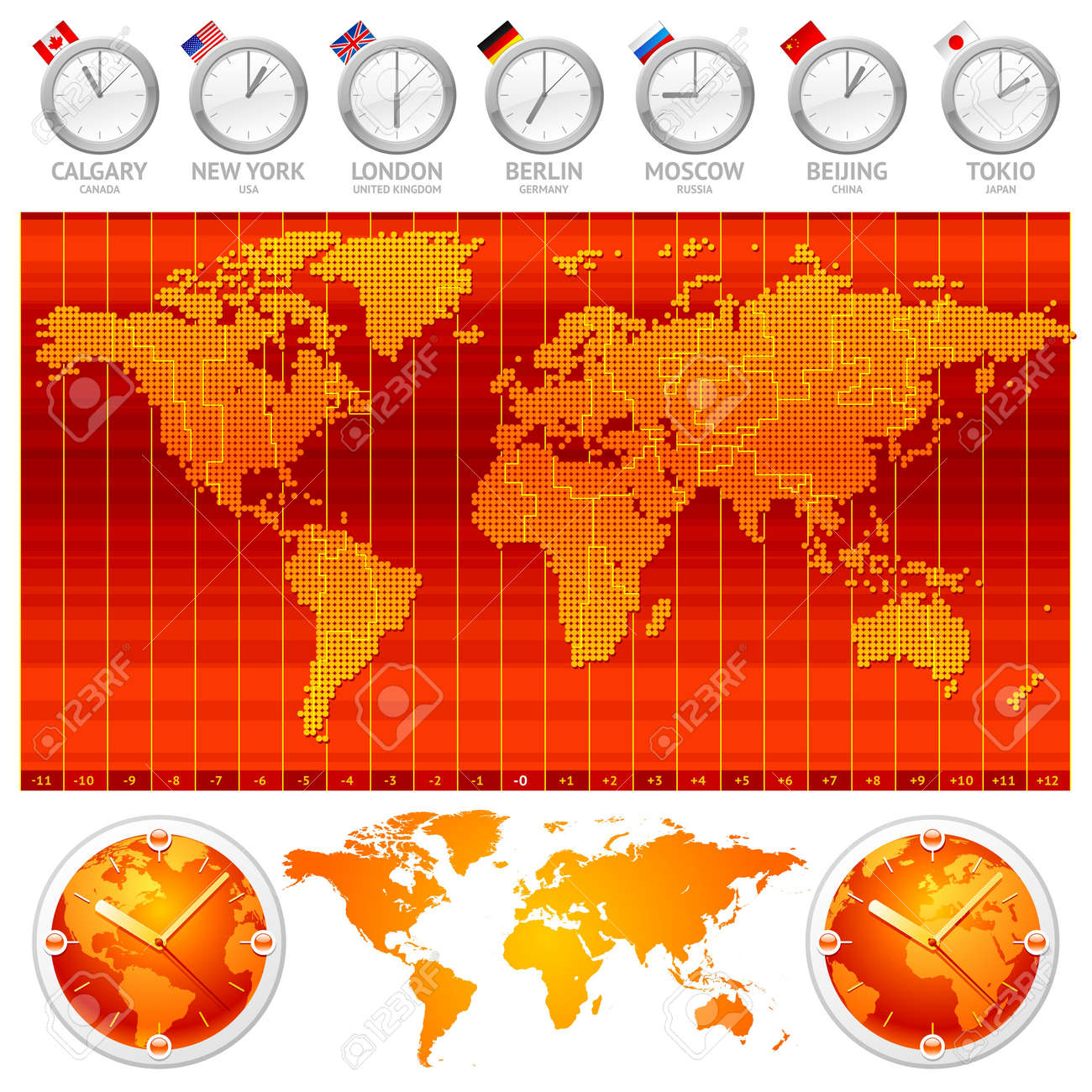 Time Zones And Clocks Vector Illustration Royalty Free Cliparts - Japan map time zones