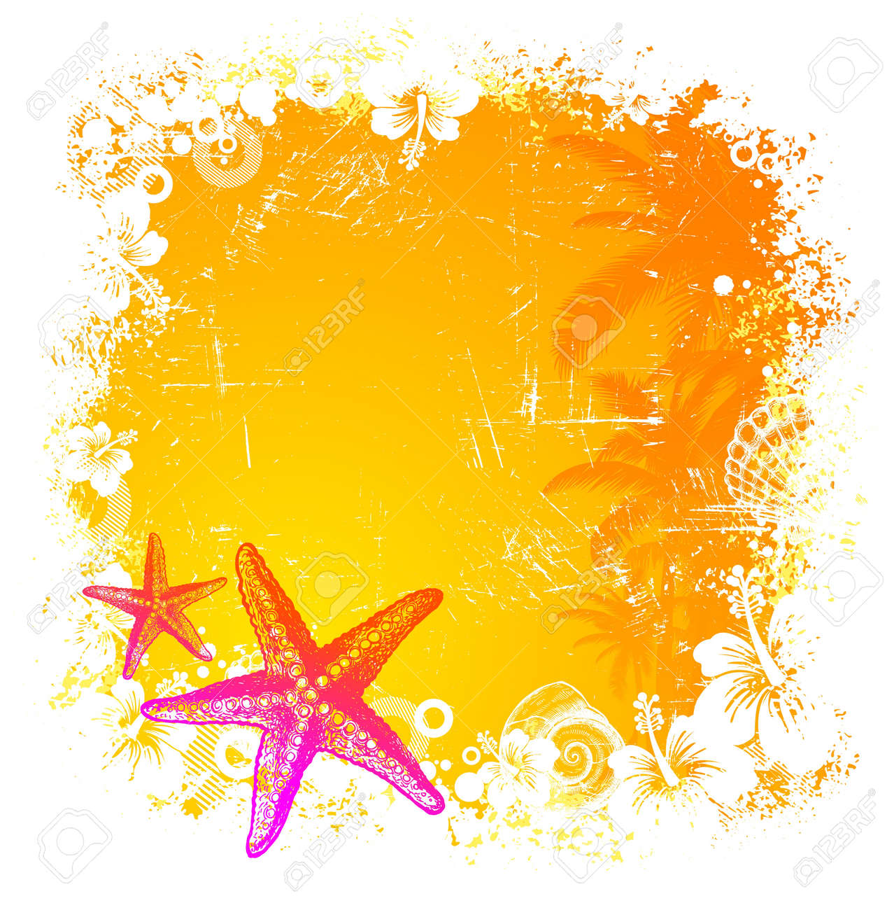 Vector  tropical background with hand drawn starfishes Stock Vector - 9945810