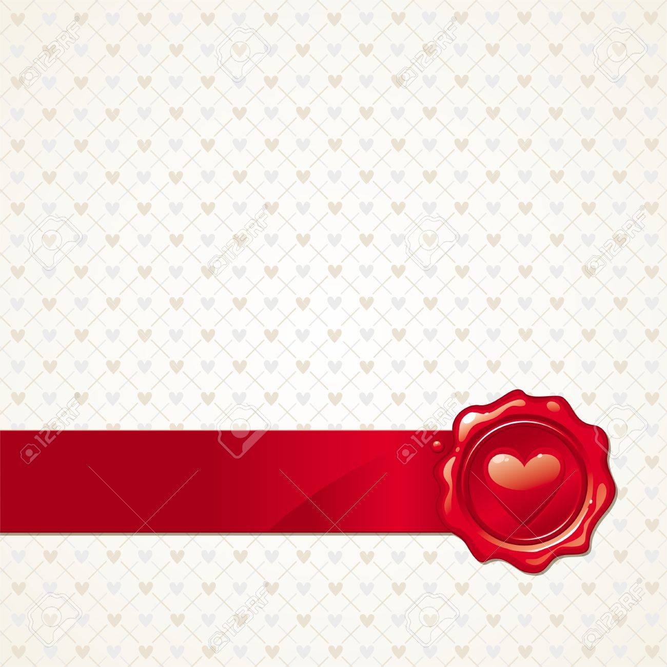 Vector abstract Valentines background with heart sealing wax stamp Stock Vector - 9946714