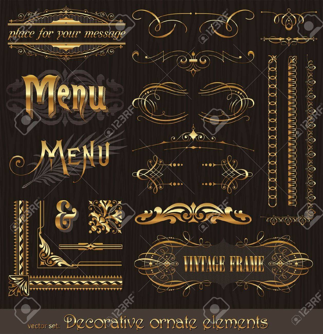 Ornate golden design elements & page decor Stock Vector - 9953413