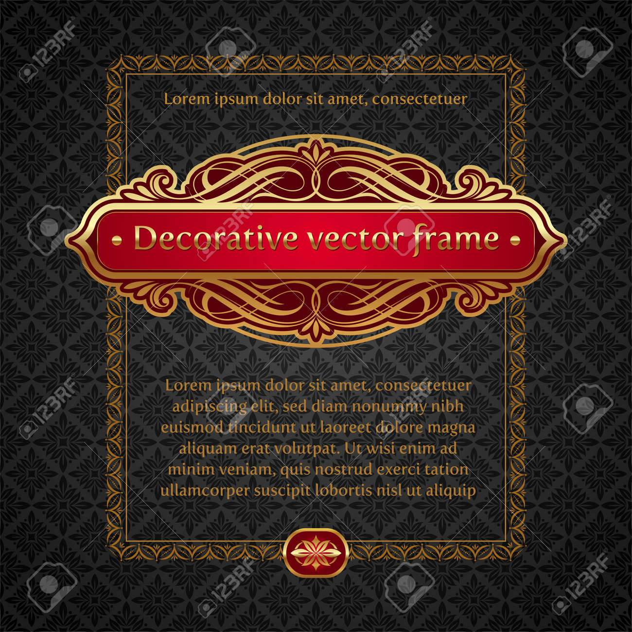 Vector illustration - Luxury golden vintage calligraphical framed labels Stock Vector - 9953360
