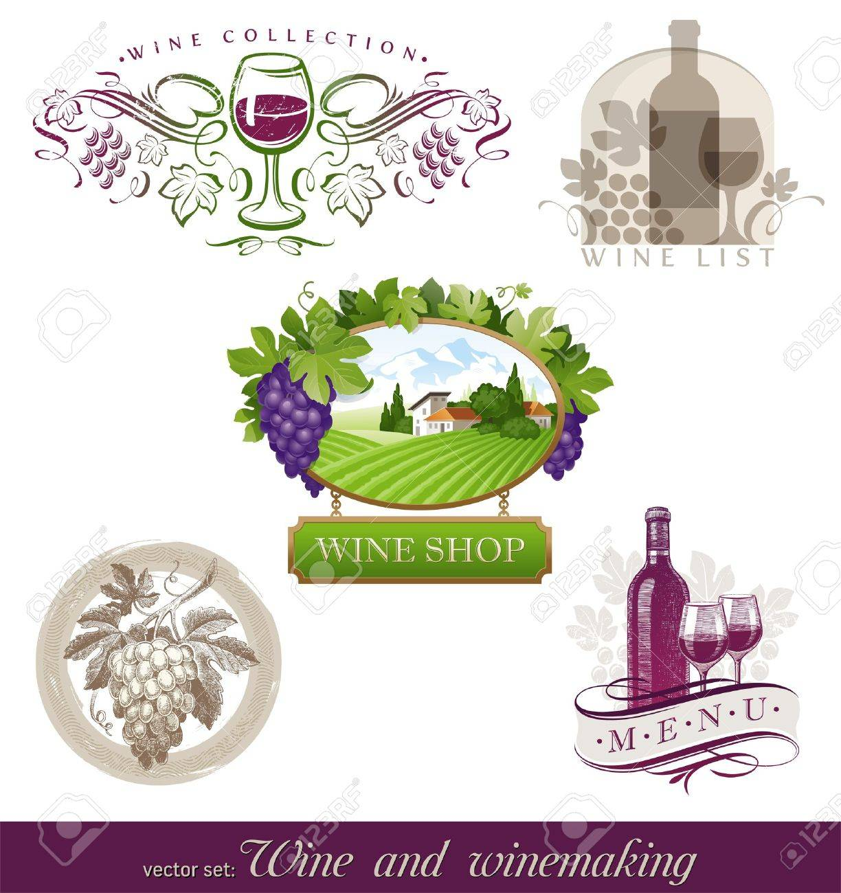 Vector set - wine & winemaking emblems & labels in different styles Stock Vector - 9945796