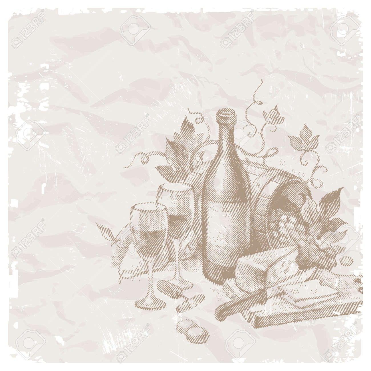 Vector vintage still life with wine and foods Stock Vector - 9945838