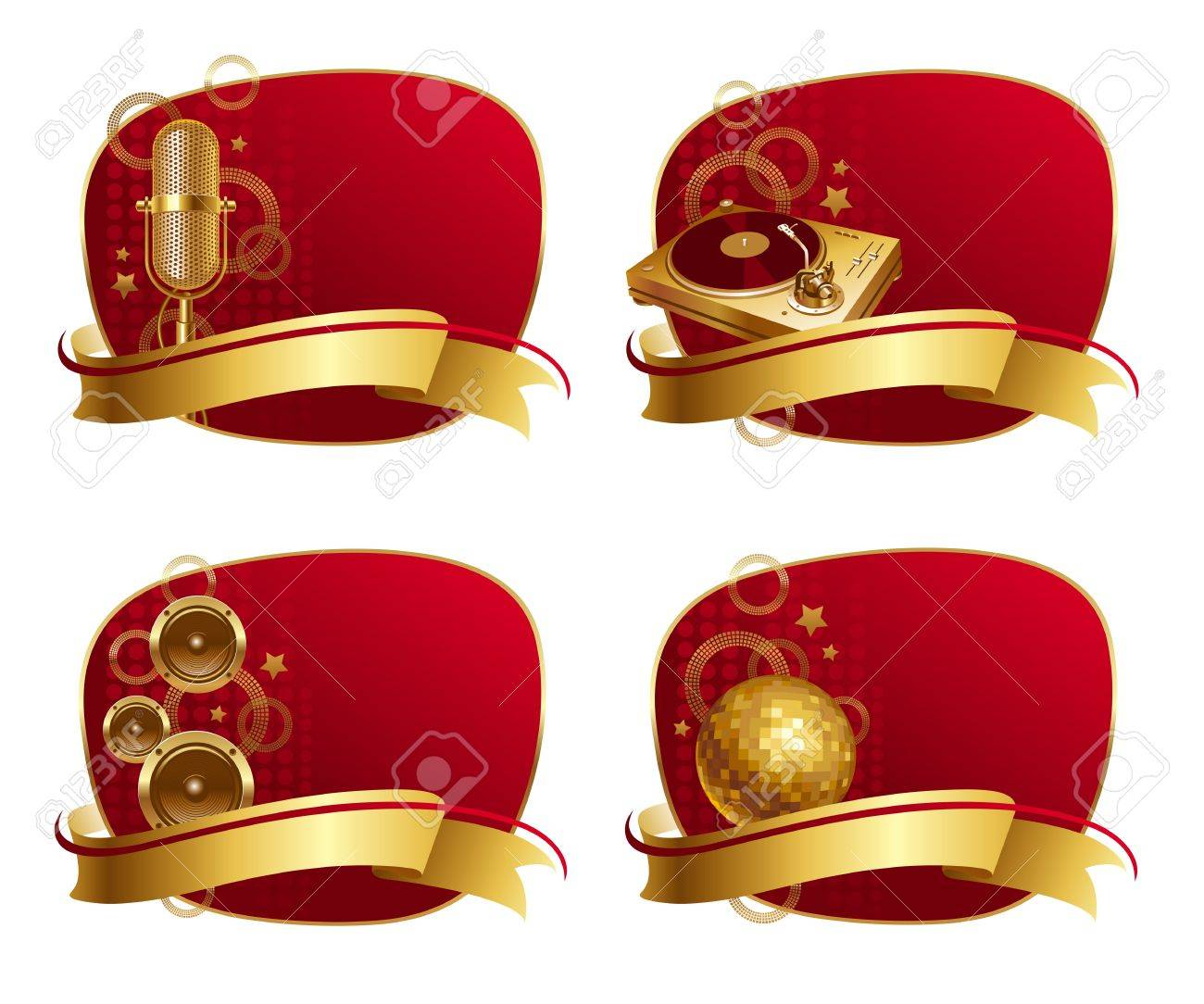 Red Frames With Golden Musical Equipments Banner Stock Vector
