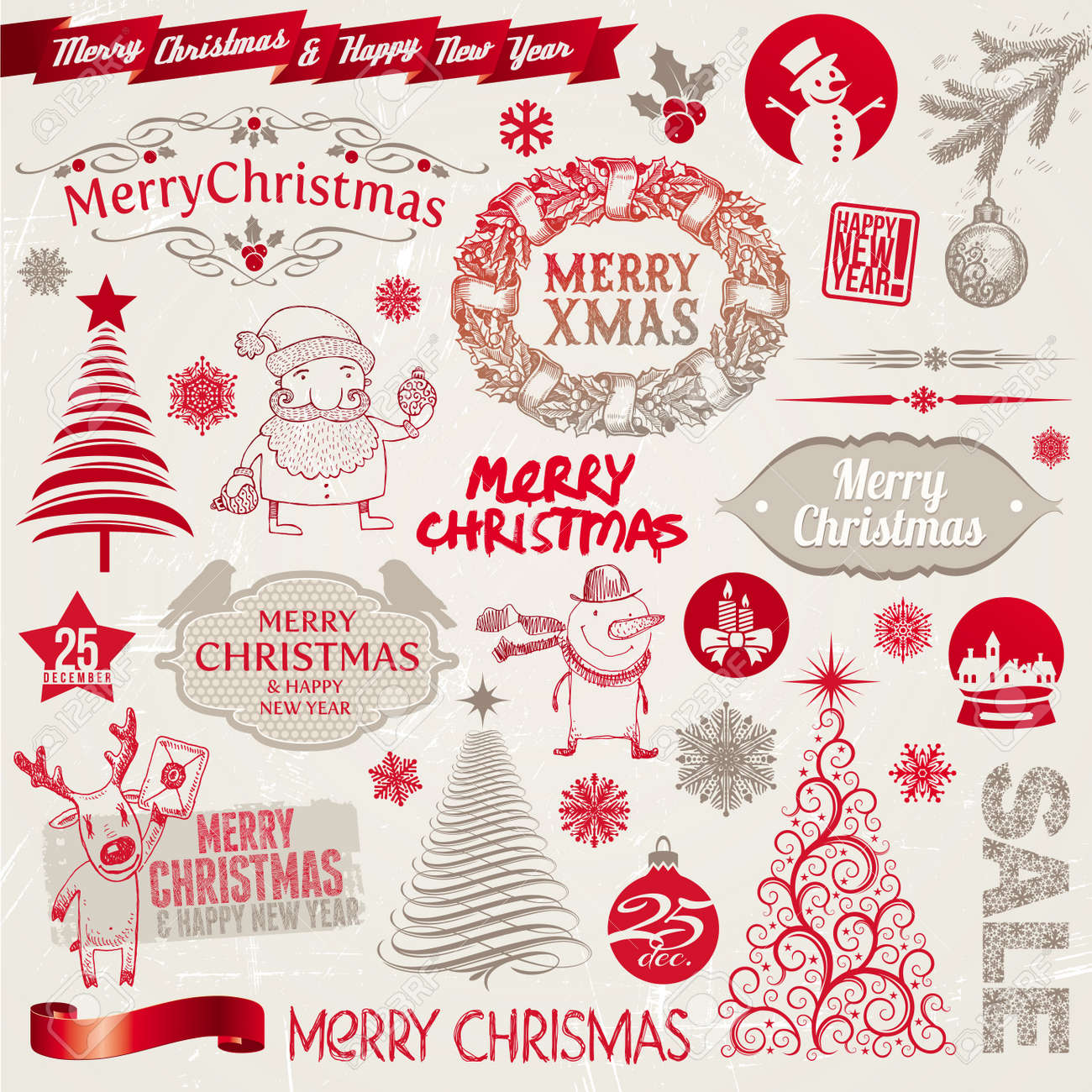Set Of Christmas Signs Emblems And Doodles Royalty Free Cliparts