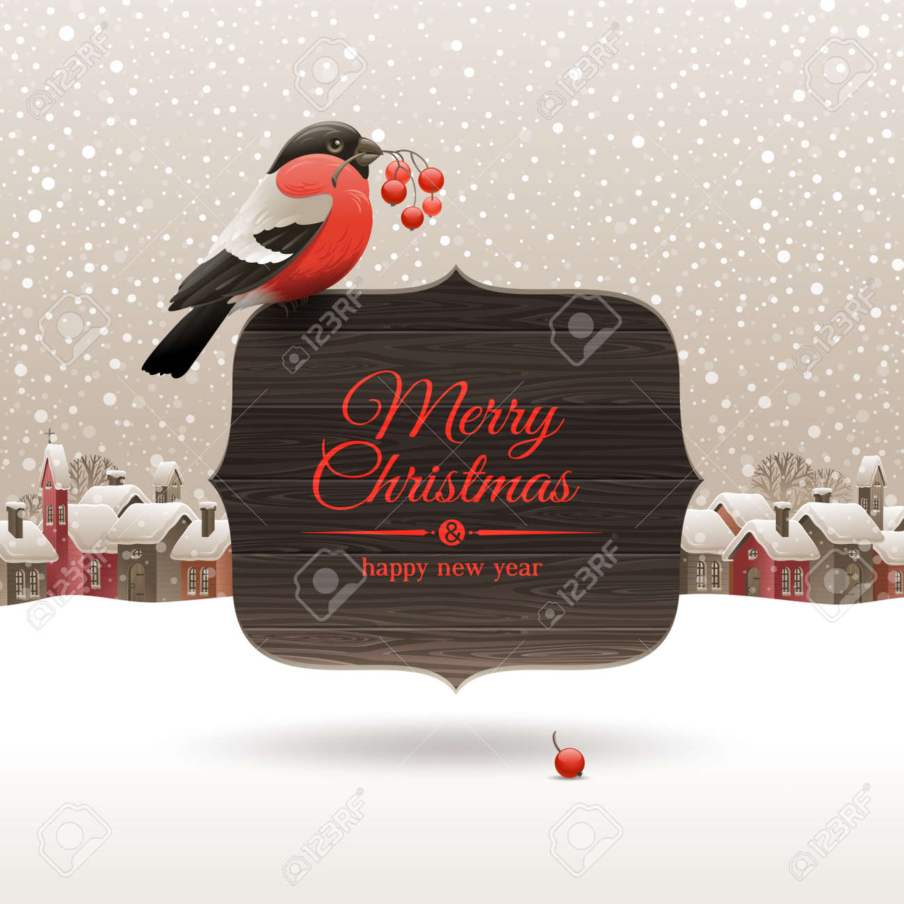Christmas illustration - bullfinch with ashberries sitting on wooden banners with holidays greeting Stock Vector - 16304471