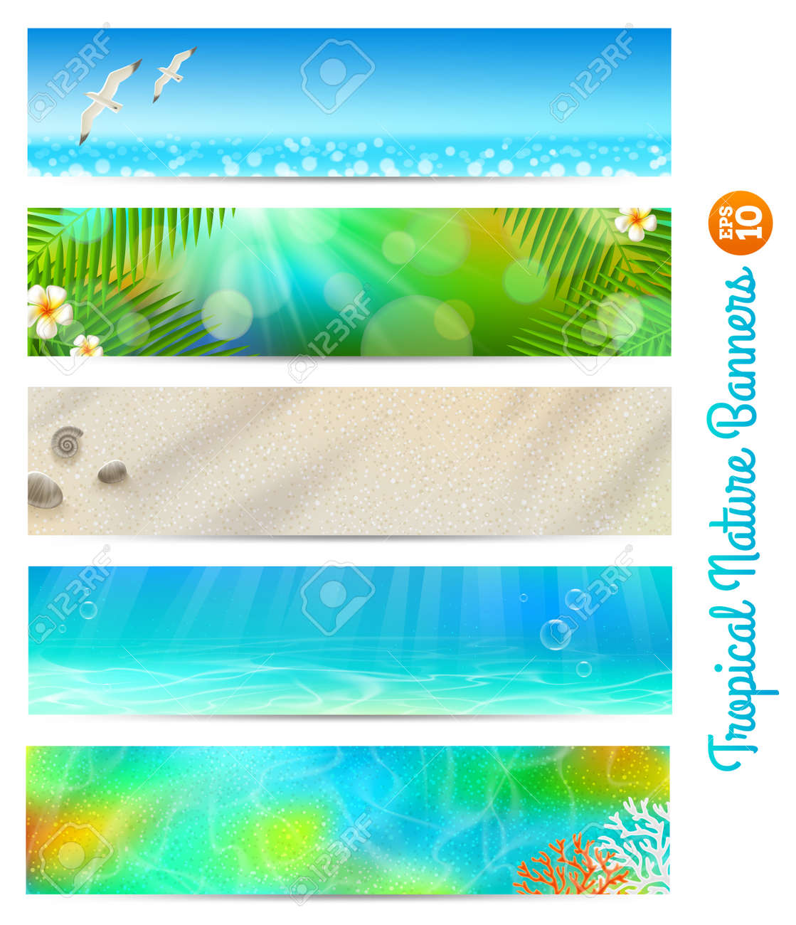 Travel and vacation banners with tropical natures Stock Vector - 19059089