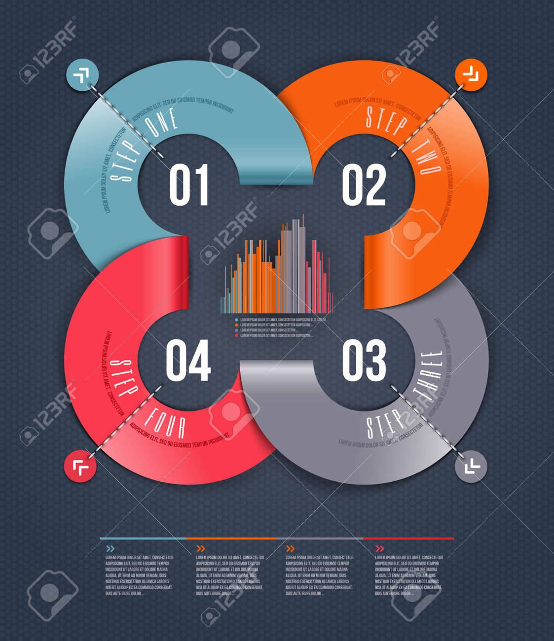 Abstract infographics design with numbered paper elements - illustration Stock Vector - 19370340