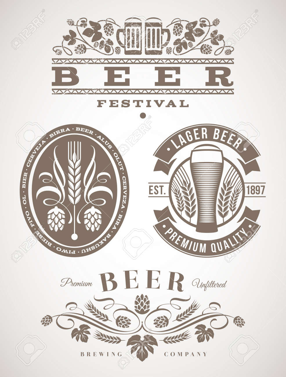 Beer emblems and labels - vector illustration Stock Vector - 20276548