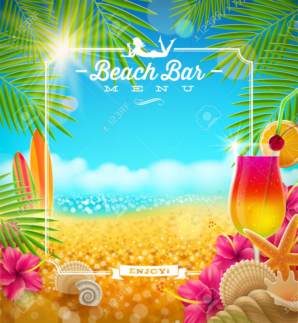 tropical summer vacation beach bar menu vector design royalty free