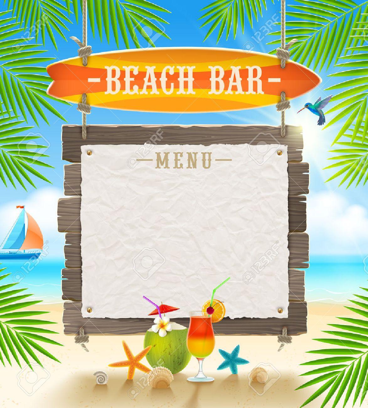 Bar Tropical De Plage Enseigne De Surf Et Du Papier Bannière Pour Le Menu Vacances D été De Dessin Vectoriel
