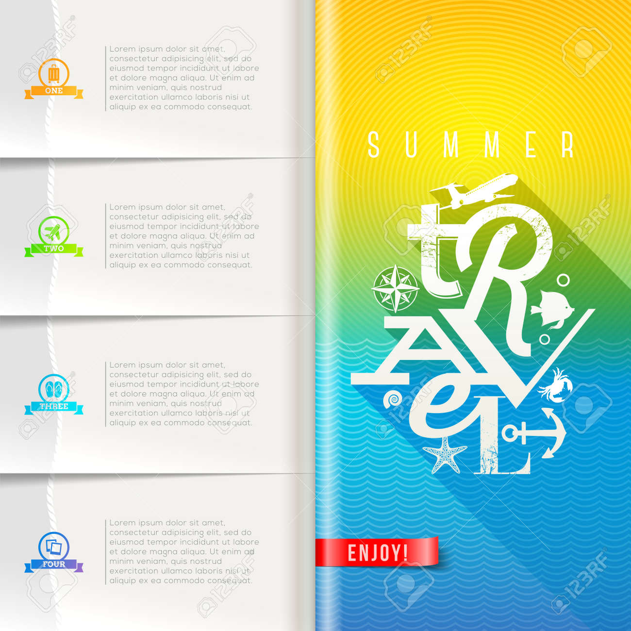 Booklet template with infographic elements summer travel booklet template with infographic elements summer travel greeting sign on pattern paper pages stock vector pronofoot35fo Choice Image