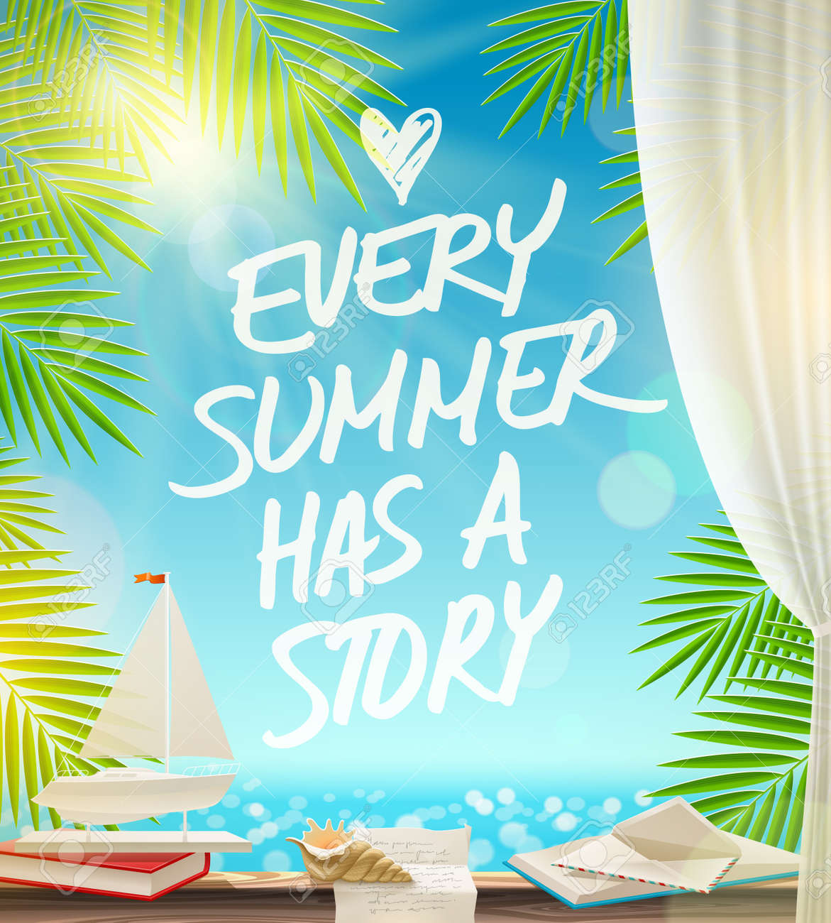 Every Summer Has A Story Summer Vacation Vector Design With Hand Drawn Quote  Against A Seascape