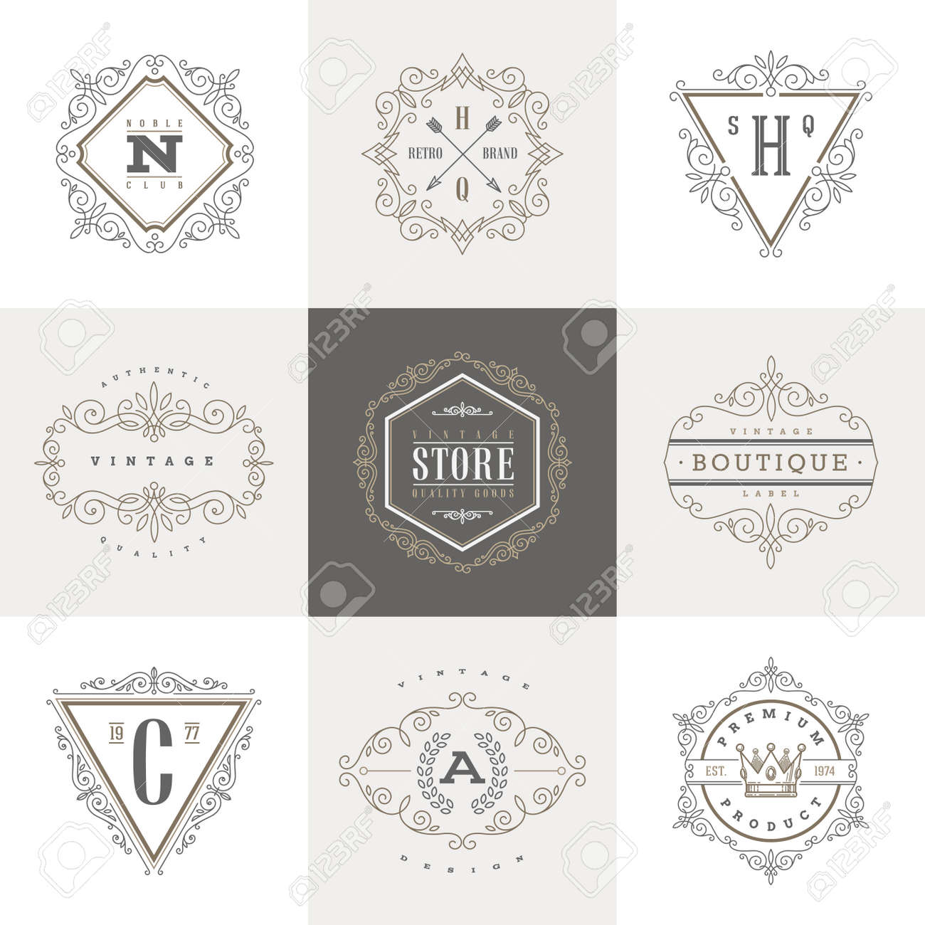 Monogram template with flourishes calligraphic elegant ornament elements. Identity design with letter for cafe, shop, store, restaurant, boutique, hotel, heraldic, fashion and etc. - 40014780