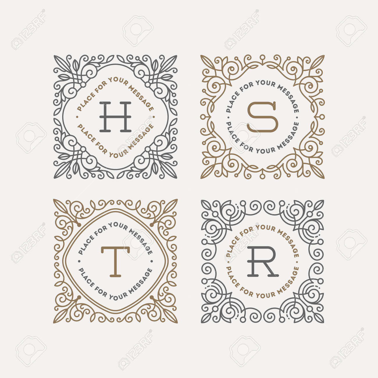 Set Of Monogram Logo Template With Flourishes Calligraphic Elegant ...