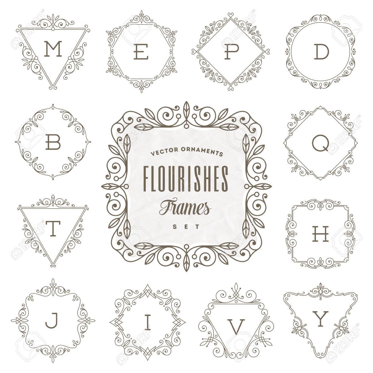 Conjunto De Monograma Logotipo De La Plantilla Con Flourishes ...